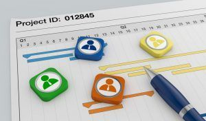 closeup view of a paper document with gantt chart, a pen, and businessman icons (3d render)